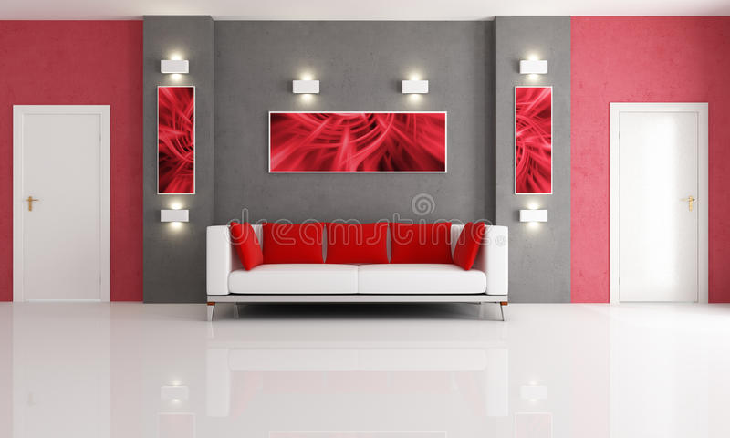 Grey And Red Living Room Stock Photography - Image 13708142 - grey and red living room
