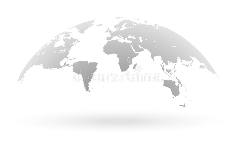 Grey World Map Globe Isolated On White Background Stock Vector - Black And Grey World Map