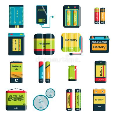 Group Of Different Size Color Batteries Electricity Charge Technology Vector Icons Stock Vector ...