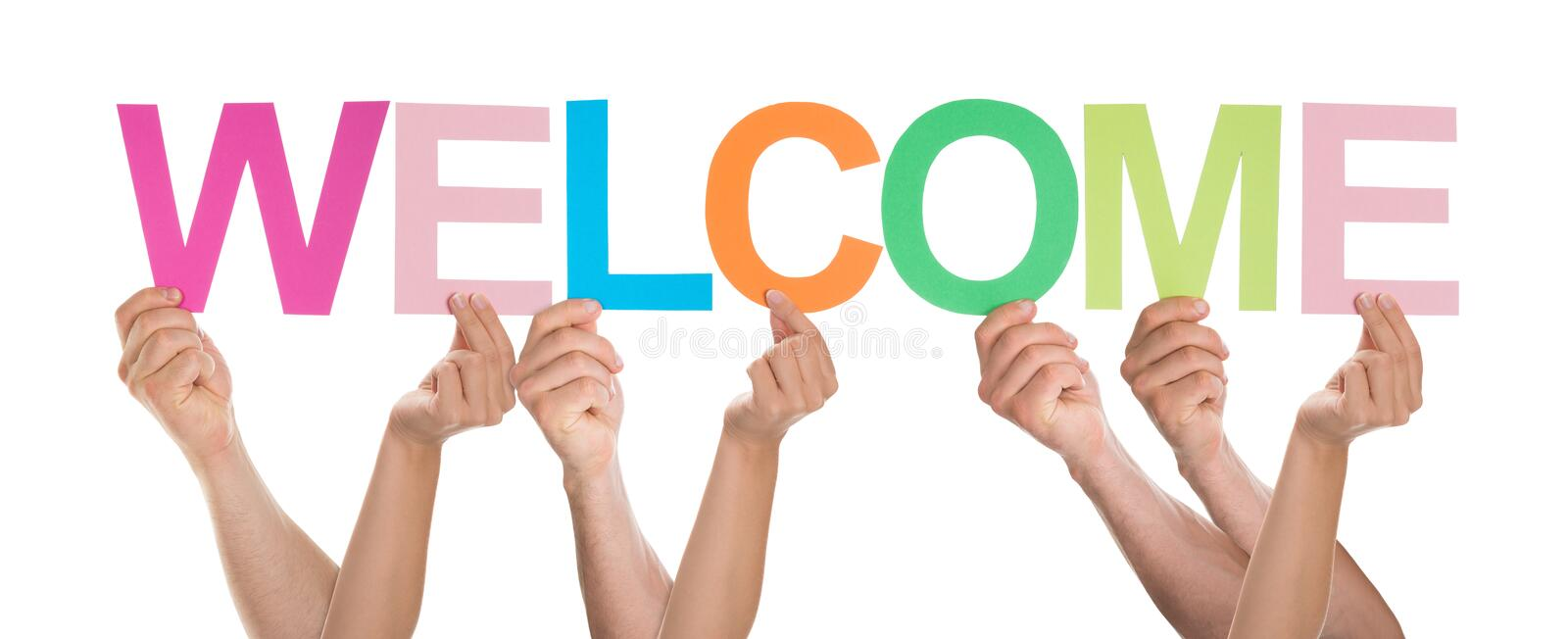 Group Of People Holding The Word Welcome Stock Photo - Image of