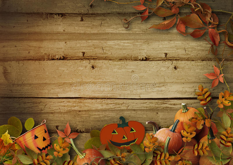 Fall Wallpaper Border Halloween Pumpkins And Autumn Leaves On Wooden Background