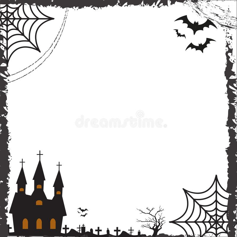 Halloween Square Frame For Text With Cobweb, Bat, Castle Template - frame for cards