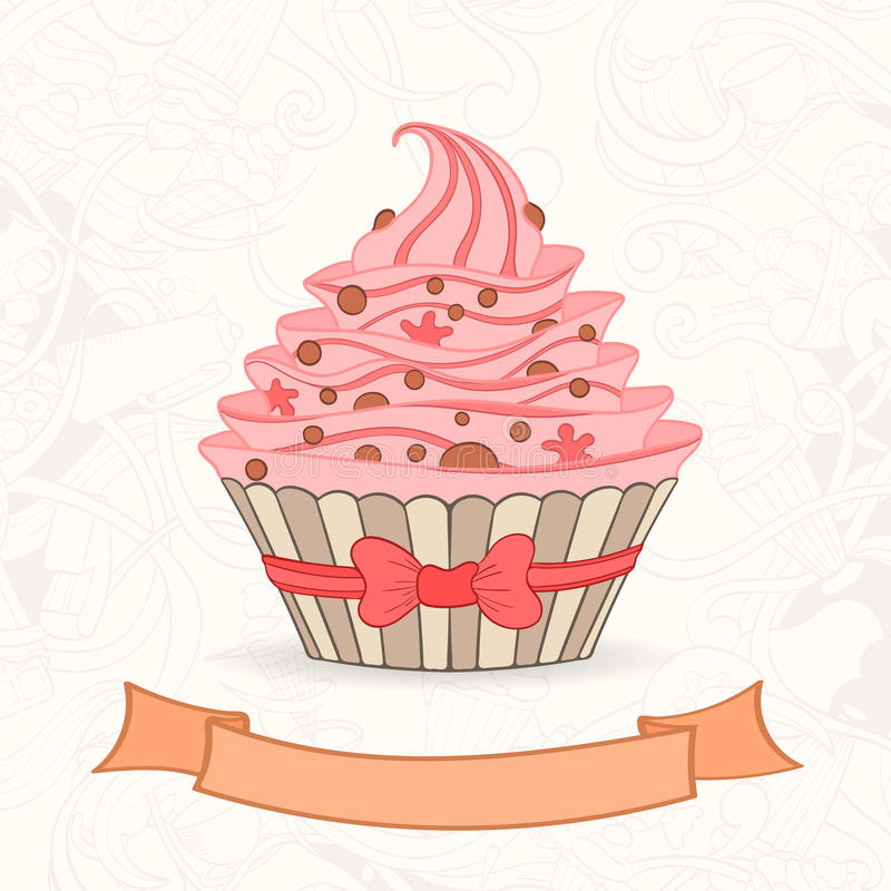 Hand Drawn Background Of Doodle Style Cupcakes Stock Vector