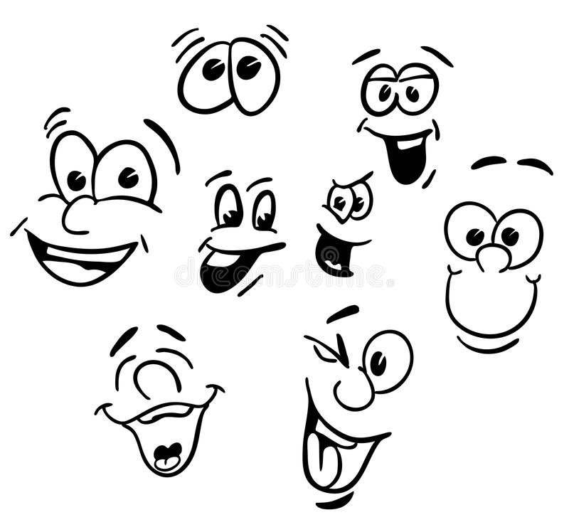 Hand Drawn Emotional Happy Cartoon Faces Stock Vector - Illustration