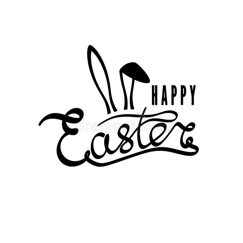 Hand Drawn Inscription Happy Easter Easter Postcard, Card