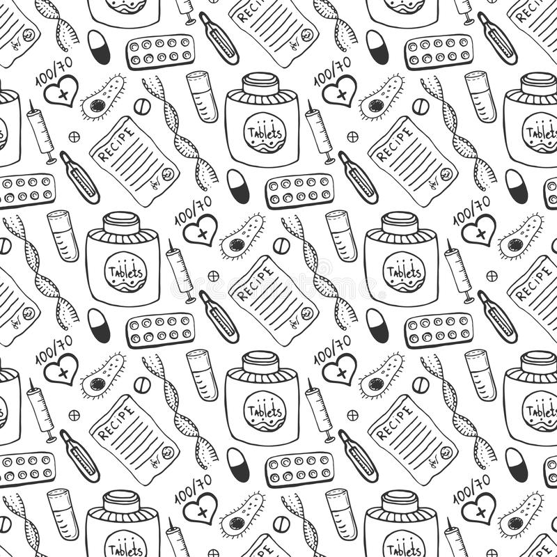 Hand Drawn Medicine Seamless Pattern Doddle Sketch Healthcare And - background sketches