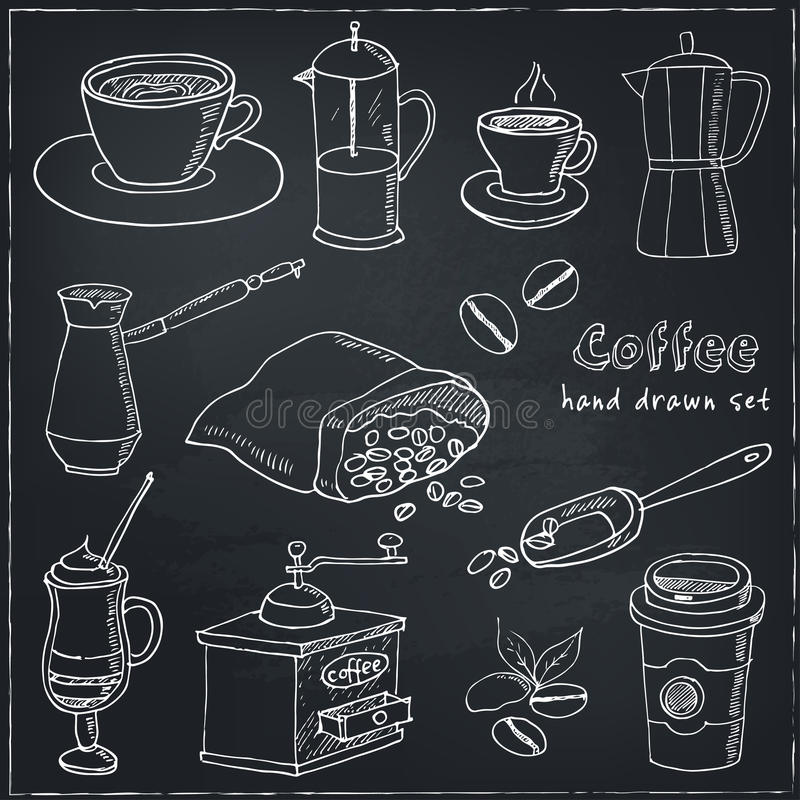 Hand Drawn Vector Coffee Set Ingredients And Devices For Making