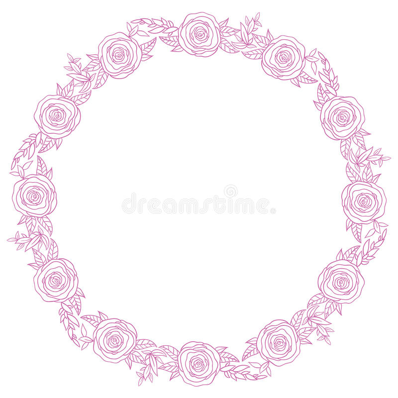 Hand Drawn Wreath With Rose Flowers Leaf And Branches Stock Vector - frame for cards
