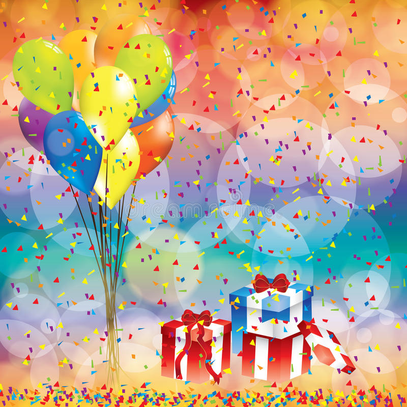 Happy Birthday Background With Balloon And Gifts Stock Vector - birthday backround
