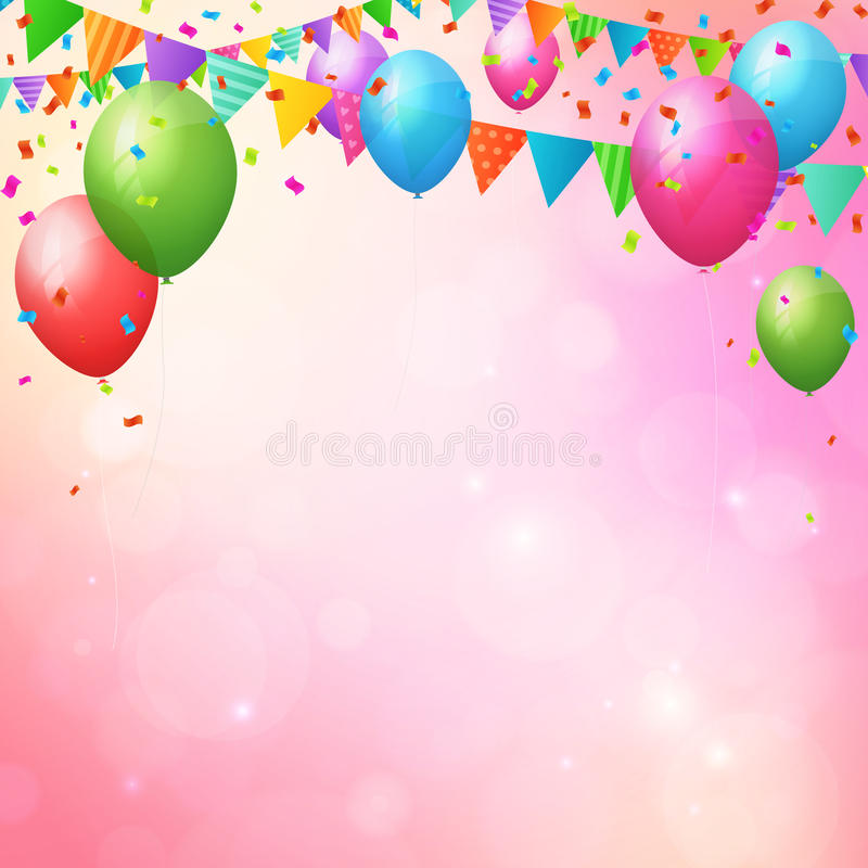 Happy Birthday Background With Balloons And Flags Stock Vector - birthday backround