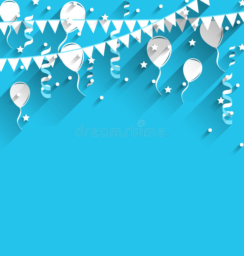 Happy Birthday Background With Balloons, Stars And Pennants Stock
