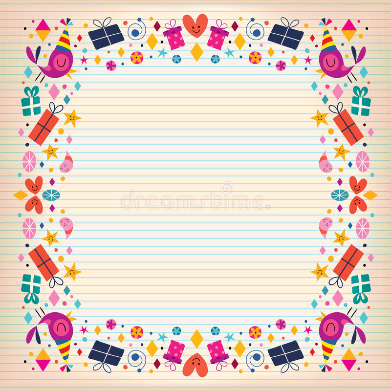 Happy Birthday Border Lined Paper Card With Space For Text Stock - lined border paper
