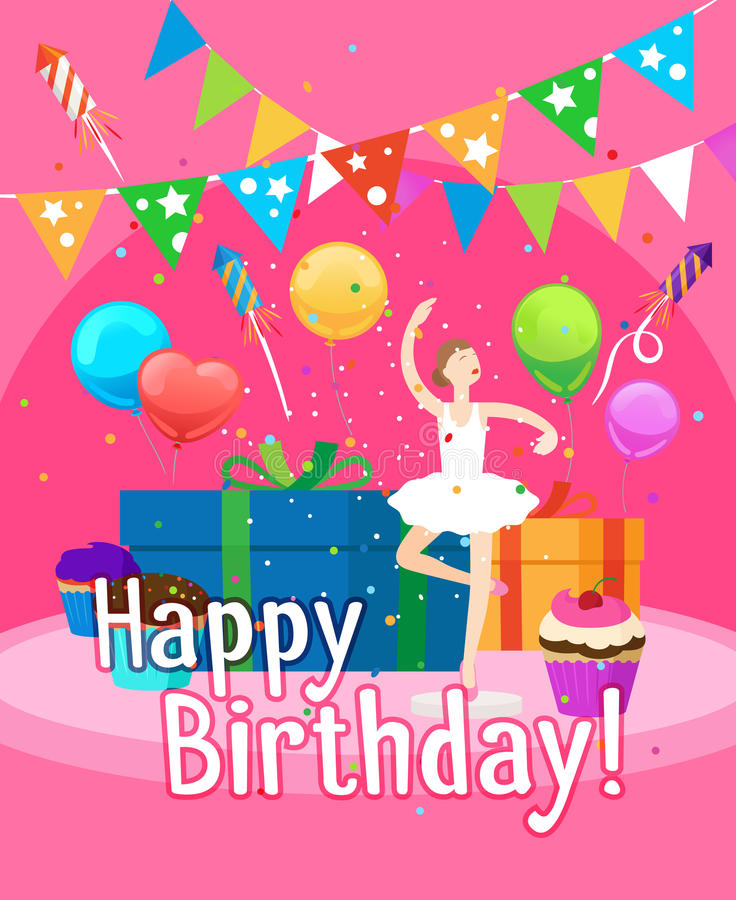 Happy Birthday Card Template For Girl Stock Vector - Image 79315763 - birthday card template