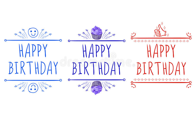 Happy Birthday` Card Templates With Hand-drawn Elements Smile - happy birthday cards templates