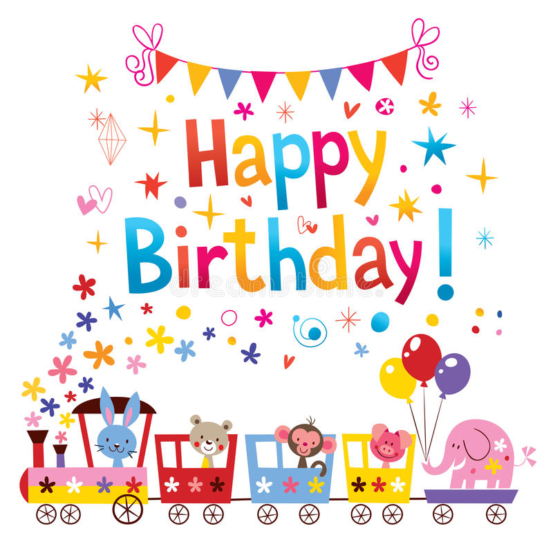 Happy Birthday Greeting Card Stock Vector - Illustration of
