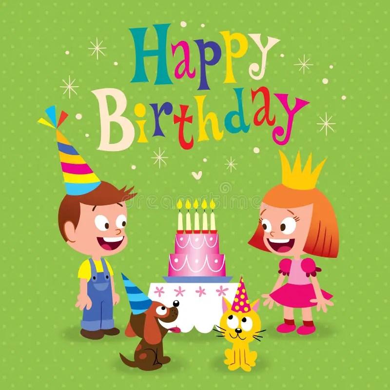 Happy Birthday Kids Greeting Card Stock Vector - Illustration of