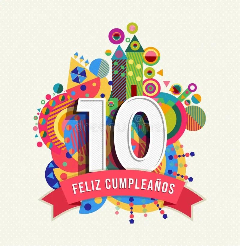 Happy Birthday 10 Year Card In Spanish Language Stock Illustration