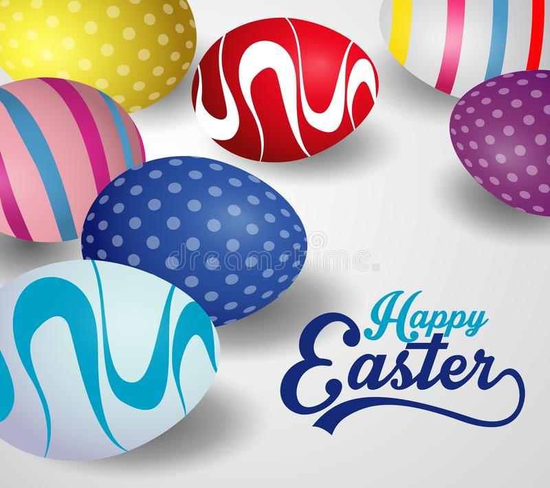 Happy Easter Background Design With Colorful Easter Eggs Easter