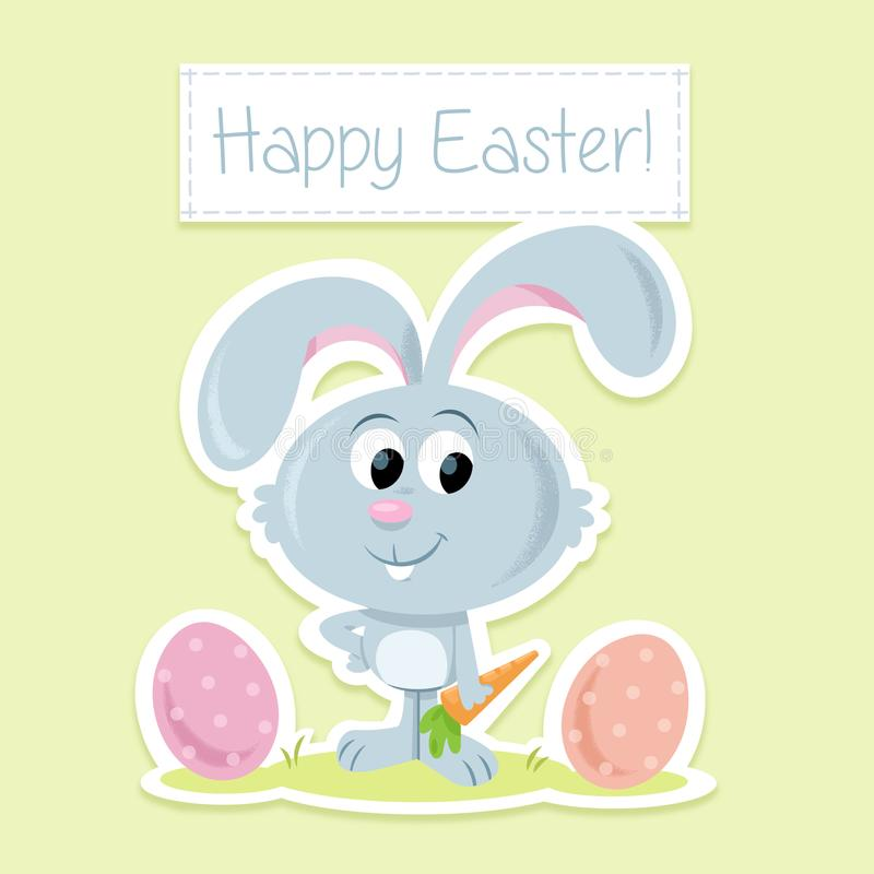 Happy Easter! -Charming Little Easter Bunny And Easter Eggs - easter greeting card template