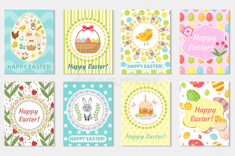 Happy Easter Greeting Card Collection, Flyer, Poster Spring Cute - easter greeting card template