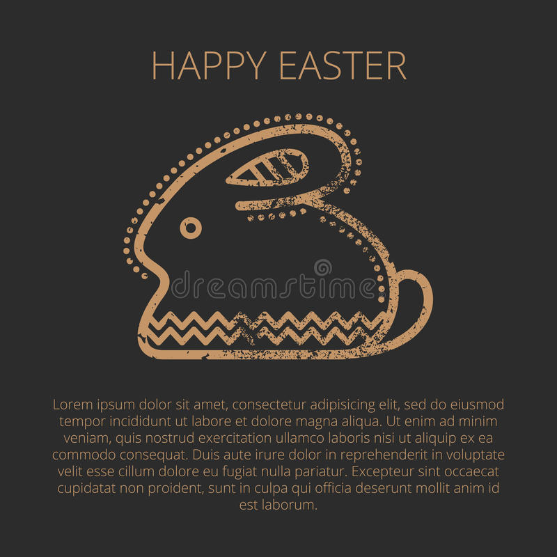 Happy Easter Greeting Card Template With Easter Rabbit Stock Vector - easter greeting card template