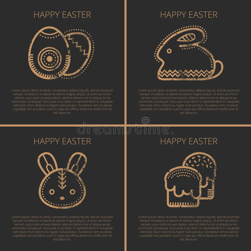 Happy Easter Greeting Card Template With Easter Rabbit Stock - easter greeting card template