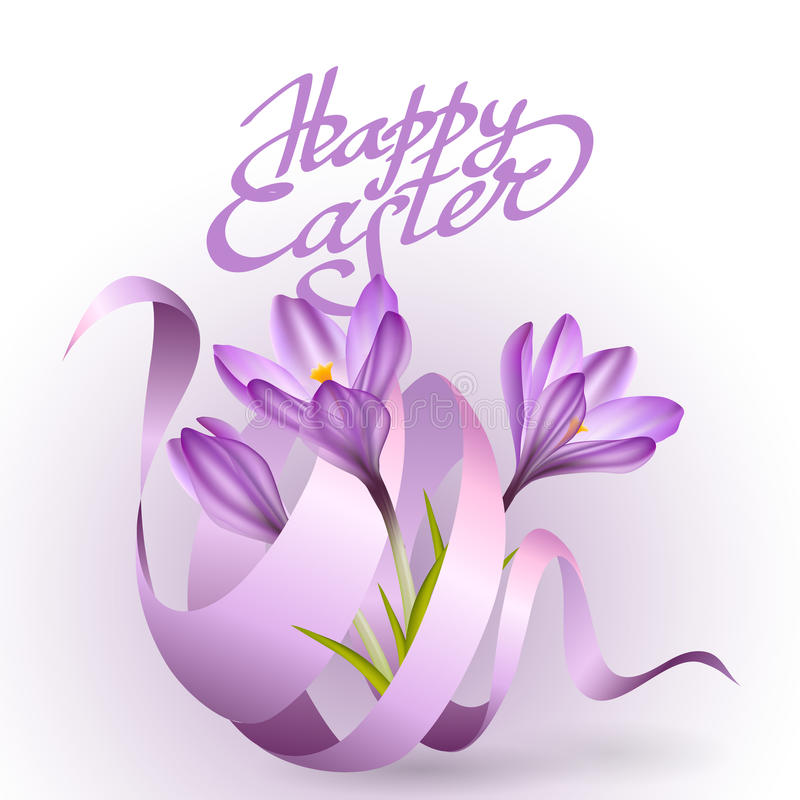 Happy Easter Greeting Card Template With Flowers And Ribbon Stock