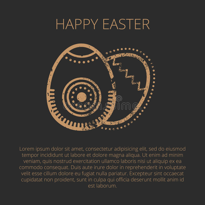 Happy Easter Greeting Card Template With Golden Eggs Stock Vector - easter greeting card template