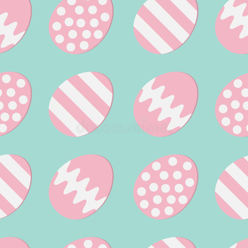 Happy Easter Painting Egg Shell Pink Color With Dot, Stripe, Zigzag