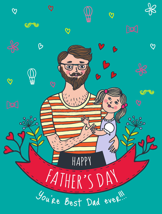 Happy Father\u0027s Day Card With Dad And Daughter Stock Illustration - father day cards from daughters