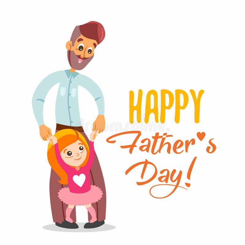Happy Father\u0027s Day Card With Illustration Of Dad And Daughter Stock - father day cards from daughters