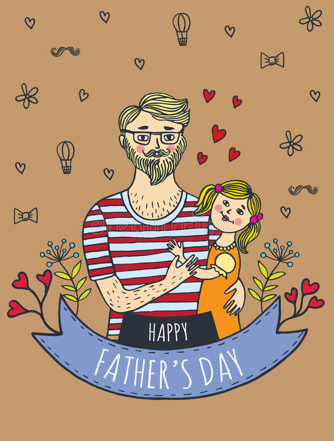 Happy Fathers Day Card With Dad And Daughter Stock Illustration