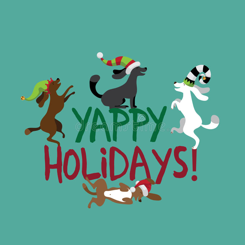 Happy Holidays Cute Dogs Wearing Silly Hats Stock Vector - free images happy holidays