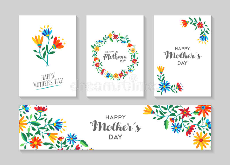 Happy Mothers Day Card And Label Floral Set Stock Vector
