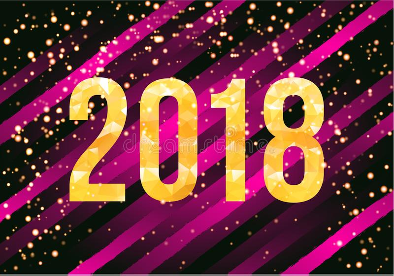 Vector 2018 Happy New Year Background Golden Numbers With Confetti