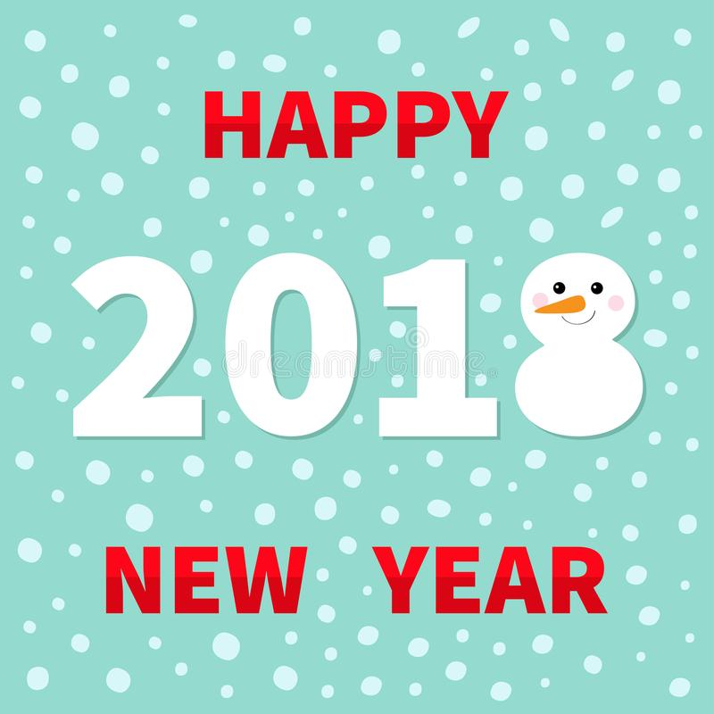 2018 Happy New Year Cute Snowman Carrot Nose Template Stock