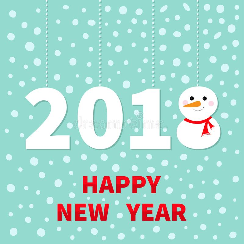 2018 Happy New Year Cute Snowman Hanging Dash Line Red Scarf