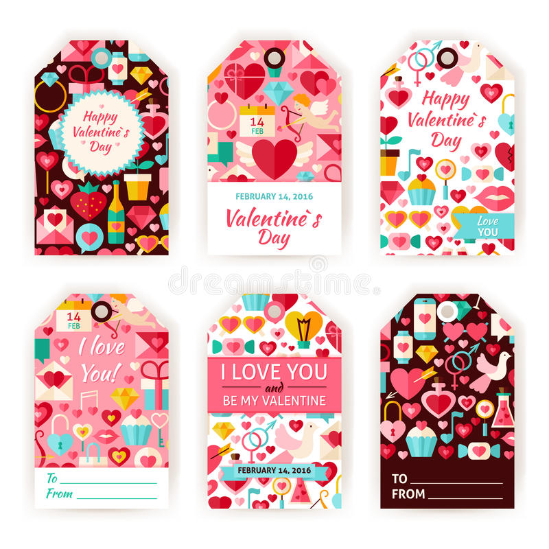 Happy Valentine Day Vector Gift Tag Template Flat Set Stock Vector - gift tag template