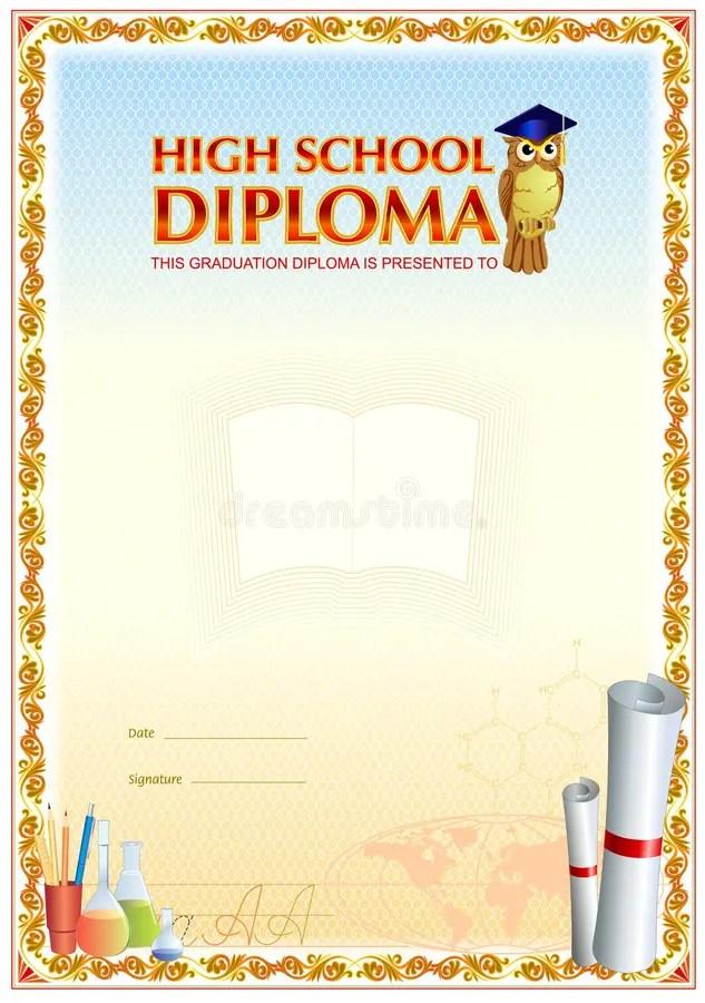 High School Diploma Blank Template Stock Illustration - Illustration
