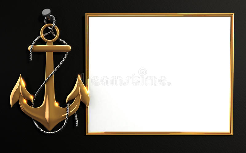 Id Card Rope Mockup Highly Detailed Gold Anchor With Rope Isolated On Black