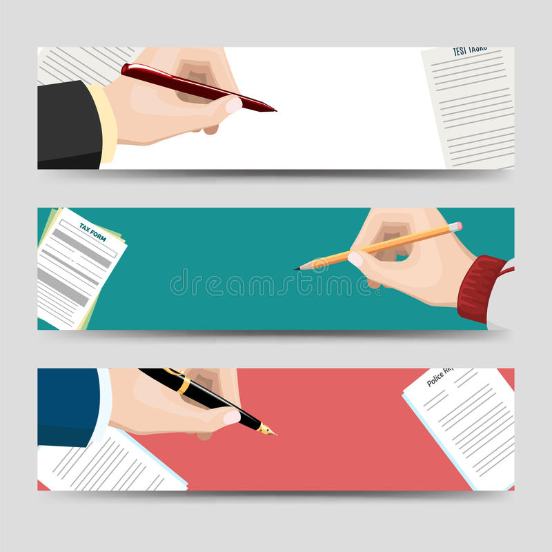 Horizontal Banners Template With Signing Document Stock Vector - horizontal writing paper