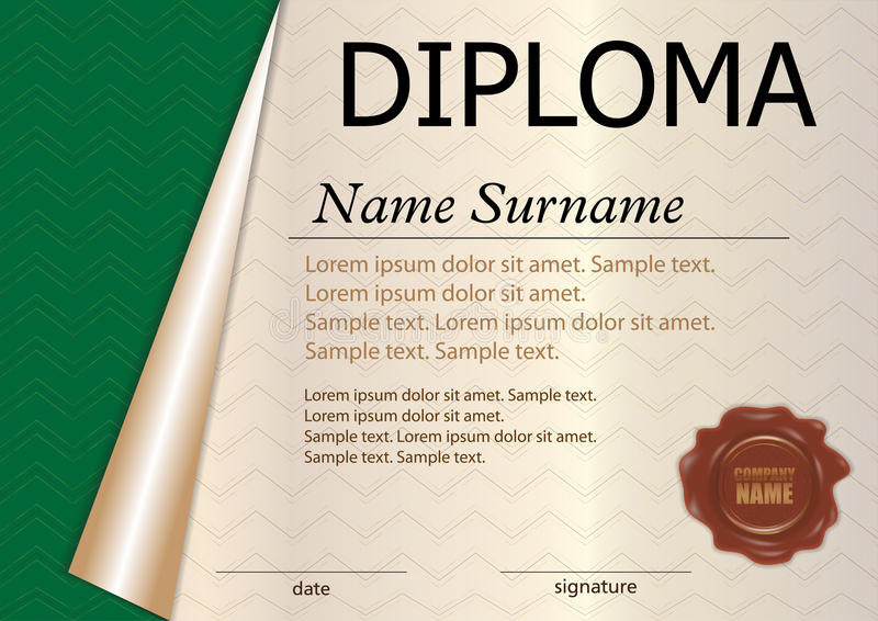 Horizontal Diploma Or Certificate Template With Wax Seal Green - Award Paper Template