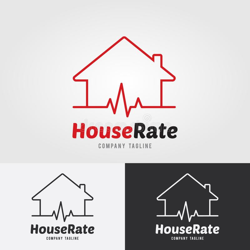House Rate Logo Template With Heart Rate, Heart Rhythm, Electroc - Heart Rate Chart Template