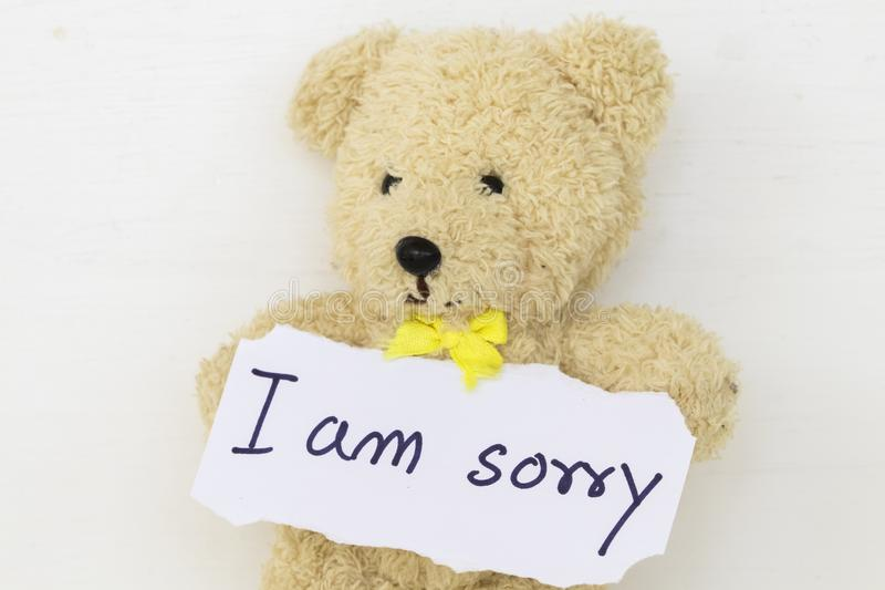 I Am Sorry Message Card And Teddy Bear Stock Image - Image of