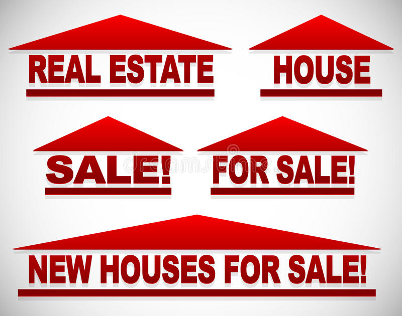 Icons With Text For Real Estate Concepts - For Sale Signs House - free for sale signs for cars