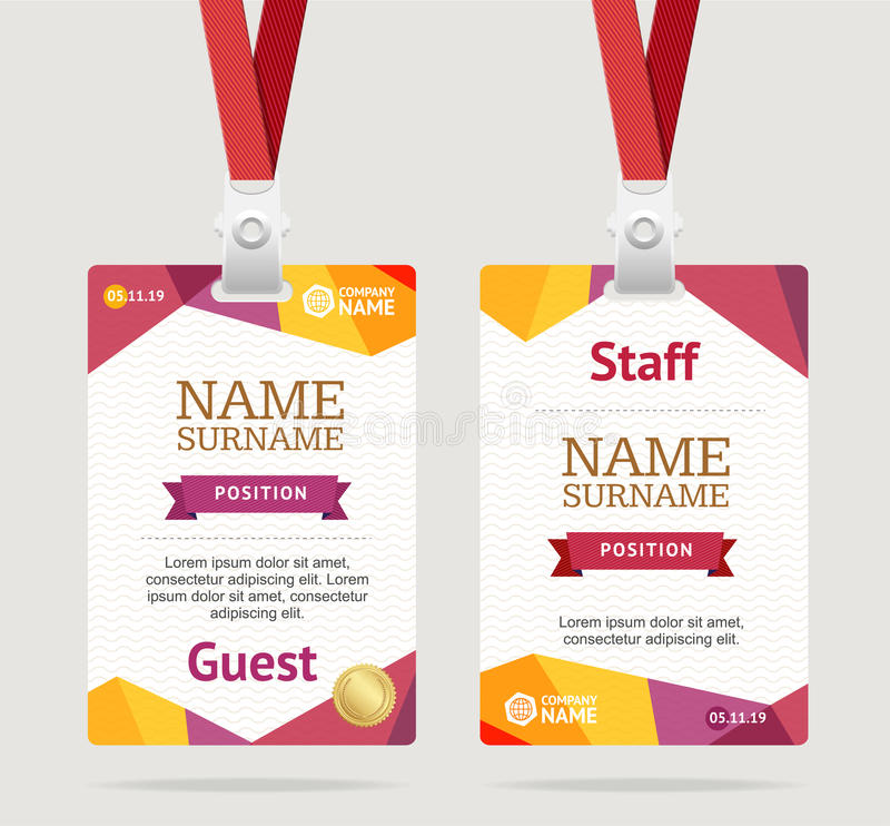 Id Card Template Plastic Badge Vector Stock Vector - Image 90296873 - id card template
