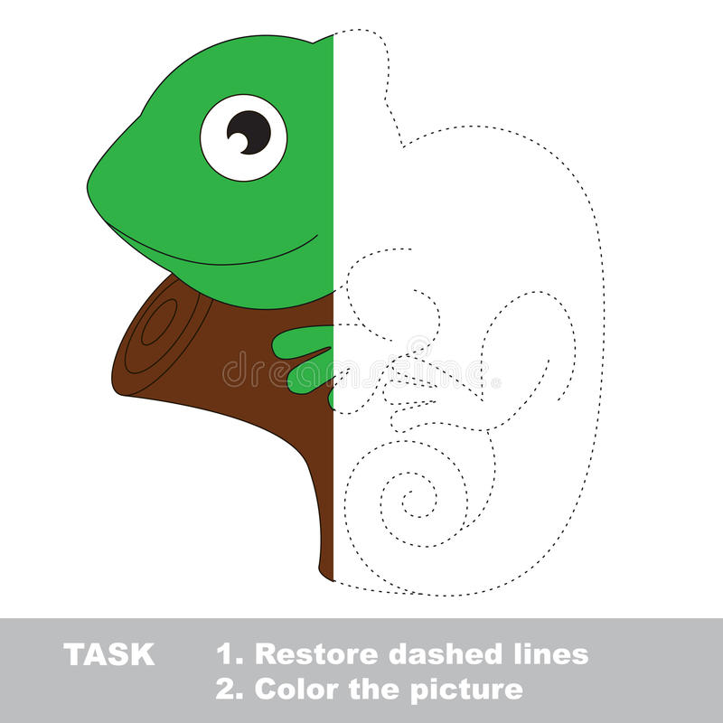 Iguana To Be Colored Vector Trace Game Stock Vector - Illustration
