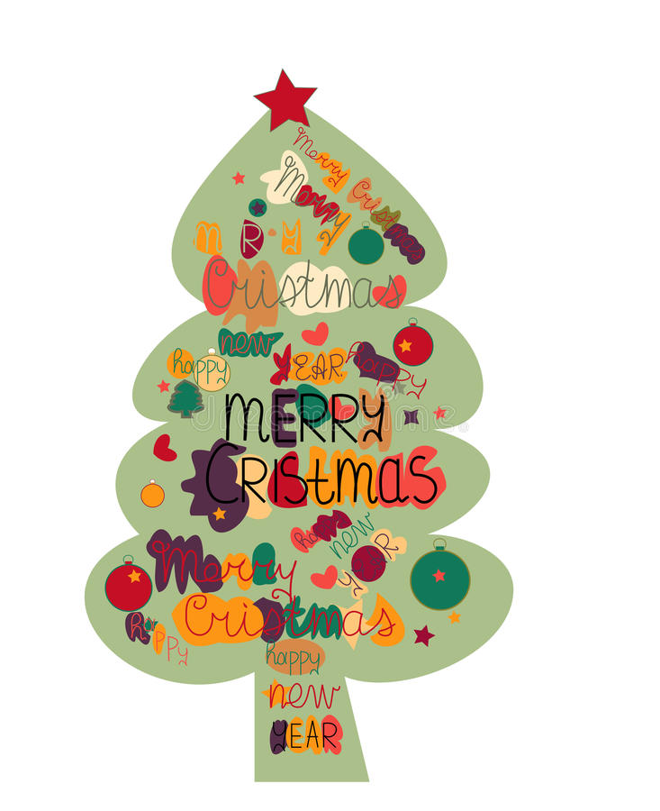 Illustration Christmas Tree Made With The Words And The Words Stock - christmas tree words