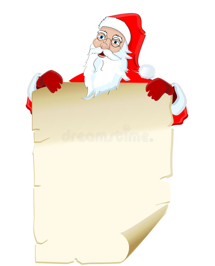 Illustration Of Santa Claus Holding Blank List Stock Vector
