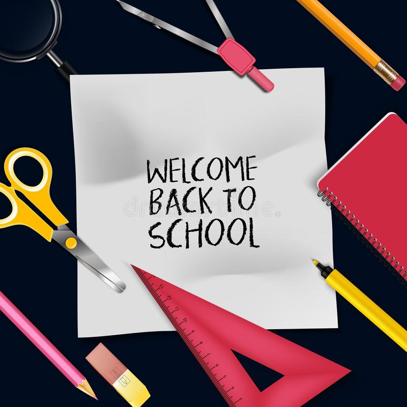 Welcome Back To School Template With Schools Supplies Stock Vector - welcome back template